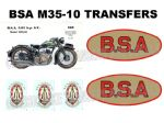 BSA M35 1930's Transfer Decal Set DBSA148
